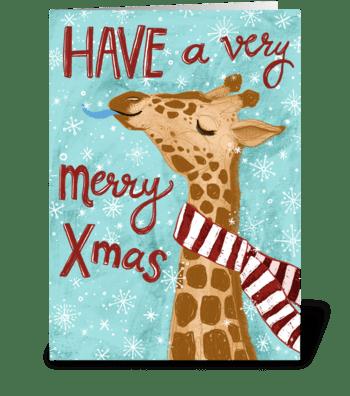 Very Merry Giraffe Christmas! greeting card
