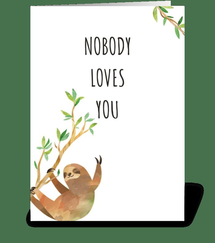 Happy Birthday Sloth greeting card
