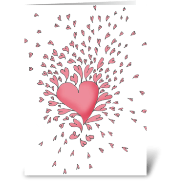 Heart bursting greeting card