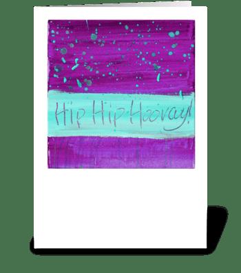 Hip Hip Hooray! - Turquoise on Magenta greeting card