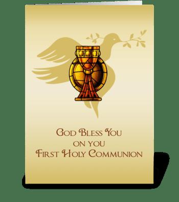 First Communion Chalice, Dove, Congratul greeting card