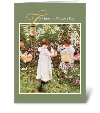 Mum, Mother's Day, Girls Flower Garden greeting card