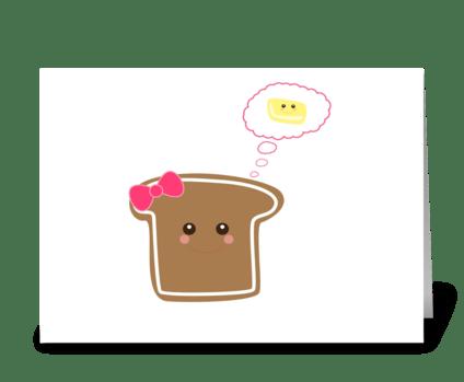 Kawaii Girly Toast greeting card