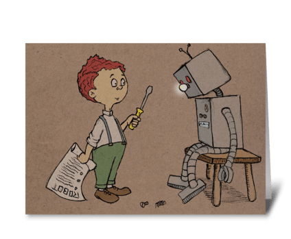 Boy and His Robot greeting card