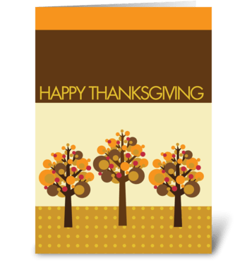 Three fall modern trees greeting card