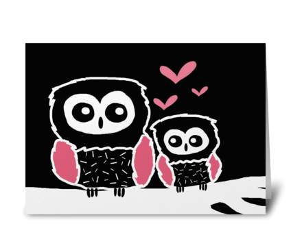 Black white and pink owls greeting card