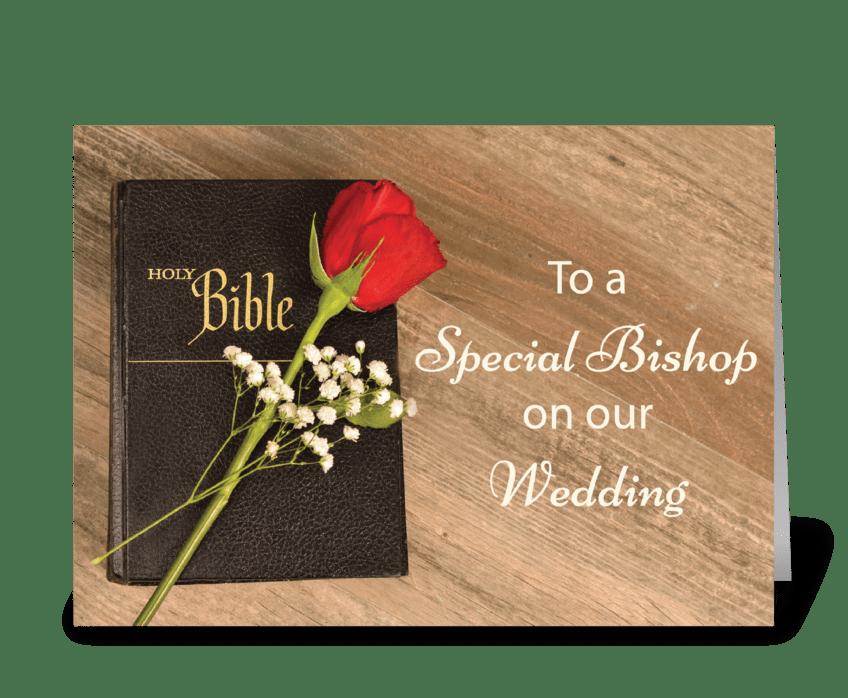 Thank You Catholic Bishop for Wedding greeting card