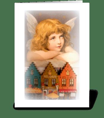Christmas Angel over Belgium greeting card