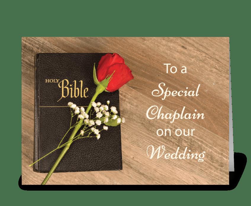 Thank You Catholic Chaplain for Wedding  greeting card