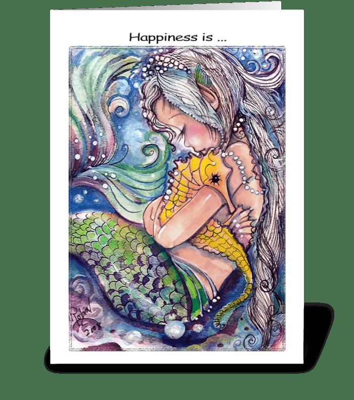 Sleepy Mermaid and Sea Horse greeting card