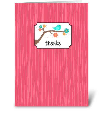 Birdie on Branch - Thanks greeting card