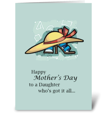 Daughter Hat Sandals Mother's Day   greeting card