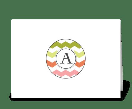 "Chevron Monogram ""A"" greeting card"