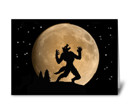 Halloween Card With Howling Wolfman greeting card