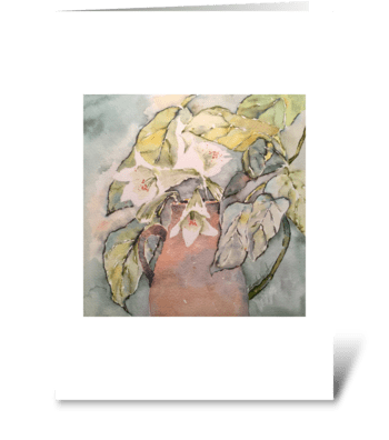 White Lilies in Fig Leaves  greeting card