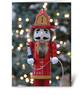 Firefighter nutcracker greeting card