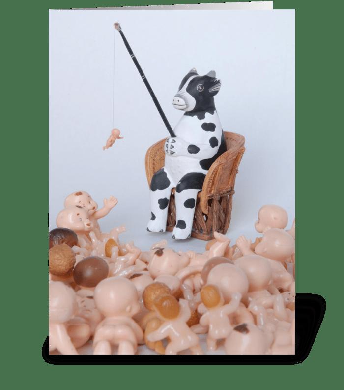 Cow Fishing greeting card