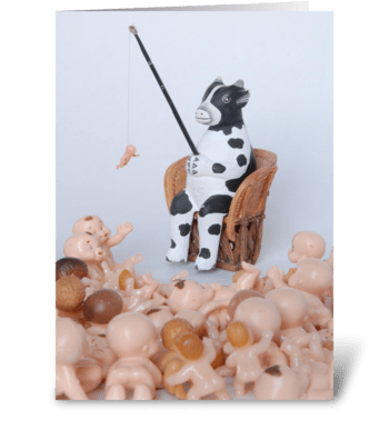 Cow Fishing greeting card