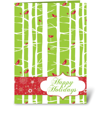 Happy Holidays Birds greeting card