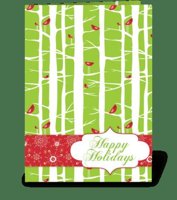 Happy Holidays Birds greeting card
