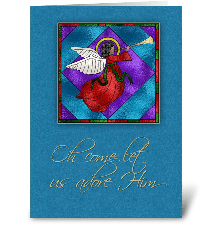 Dark Skinned Angel, Religious Christmas  greeting card