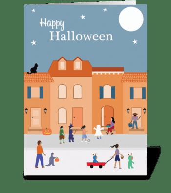 Trick-or-treating in the Neighborhood greeting card