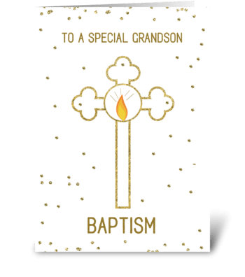 Grandson Baptism Gold Cross greeting card