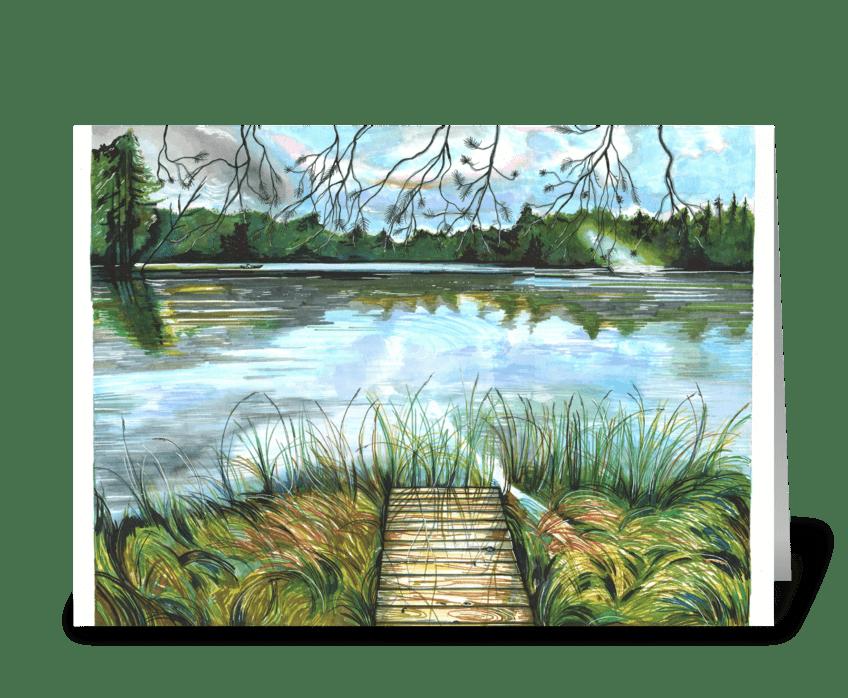 Moon Lake at Sunset greeting card