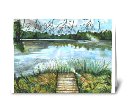 Moon Lake at Sunset greeting card