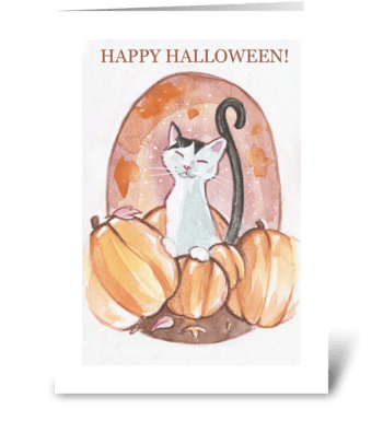 Happy Halloween  Cat Card greeting card