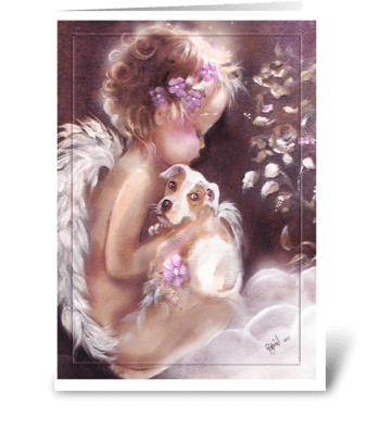 Little Angel Welcomes Puppy greeting card