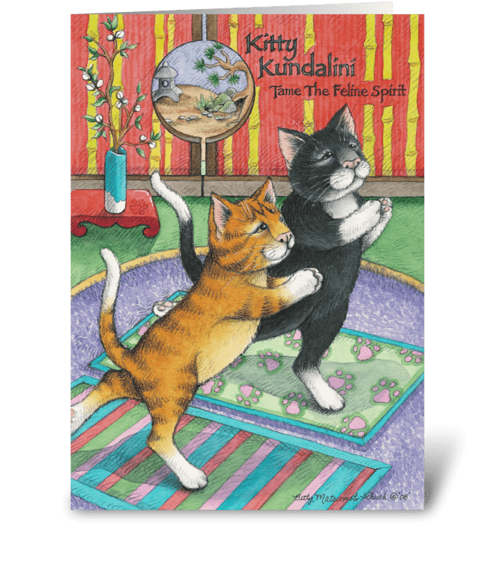 Yoga Cats Enlightened Birthday 29 Greeting Card