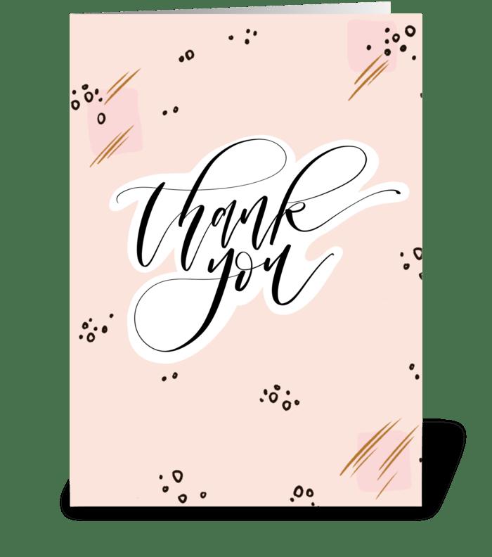 Thank You Pink & Black Pattern greeting card