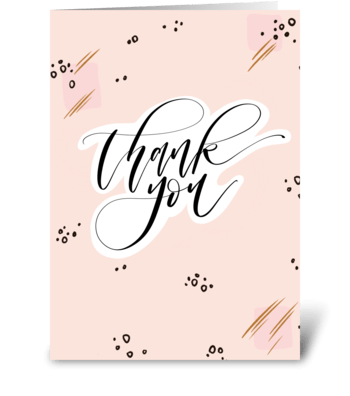 Thank You Pink & Black Pattern greeting card