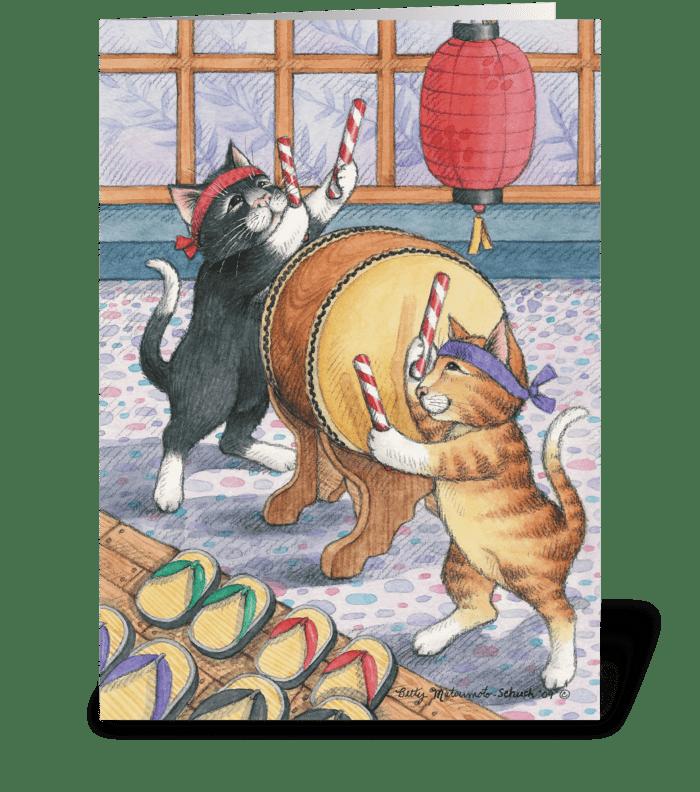 Taiko Drummer Cats Bud & Tony greeting card