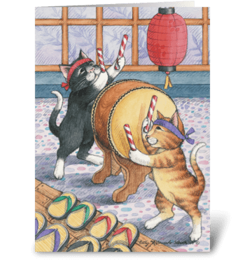 Taiko Drummer Cats Bud & Tony greeting card
