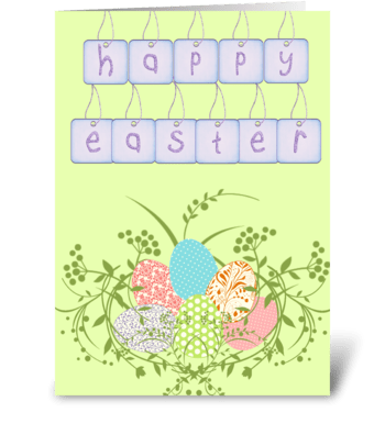 Green Easter Egg Tag Card greeting card