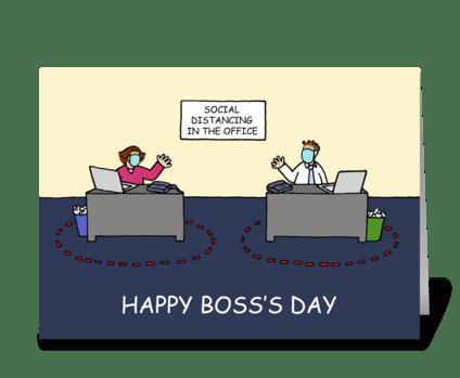 Happy Boss's Day, Covid 19 Cartoon. greeting card