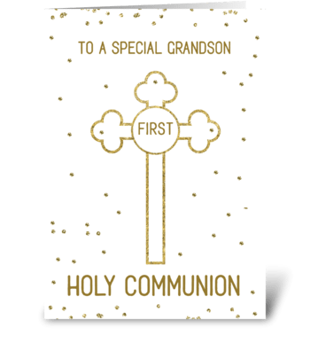 Grandson First Holy Communion Gold Look  greeting card
