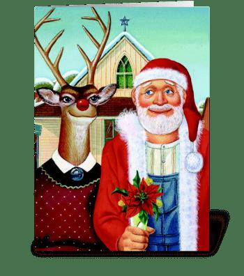 Merry Christmas, Deer greeting card
