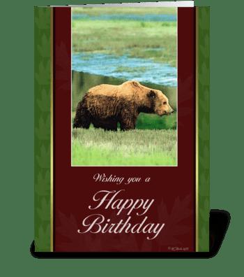 Grizzly Bear Birthday Card greeting card