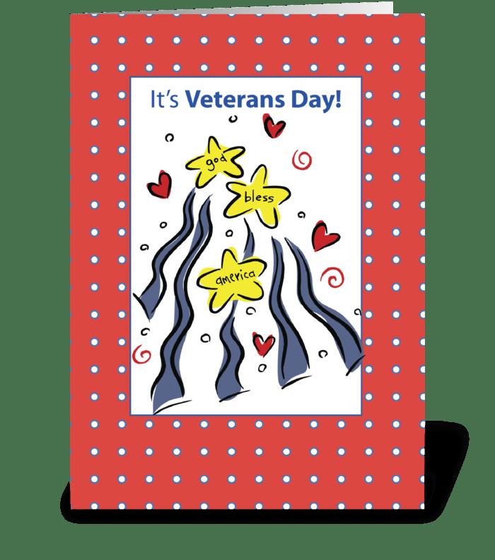 Veterans Day God Bless America  greeting card