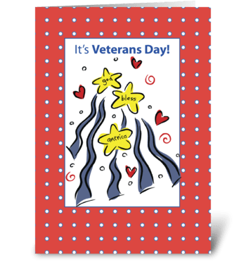 Veterans Day God Bless America  greeting card