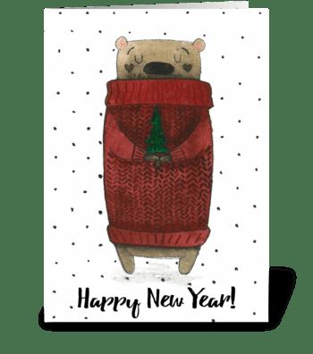 Christmas bear greeting card