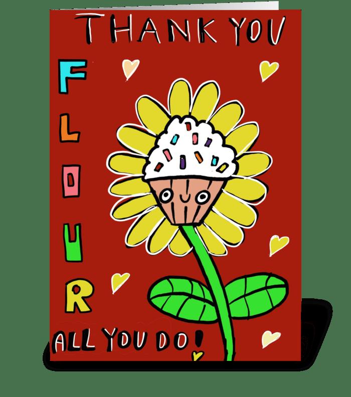 Cupcake Flour Thank you! greeting card