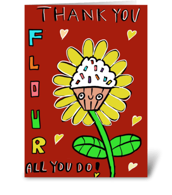Cupcake Flour Thank you! greeting card