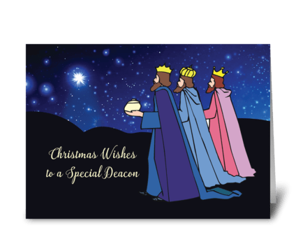 Deacon Christmas Wishes Three Kings greeting card