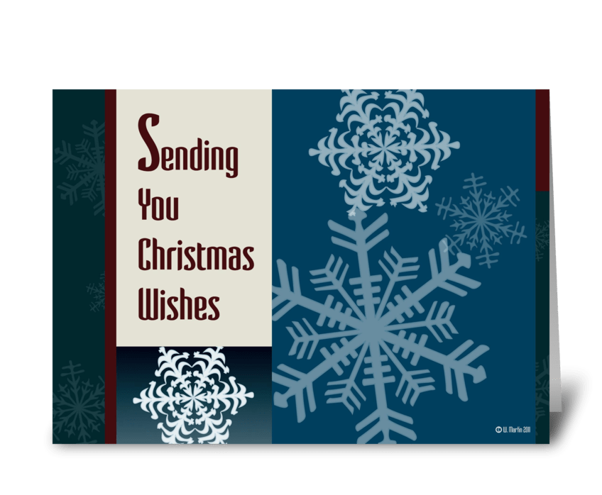 Graphic Snowflakes Christmas Card greeting card
