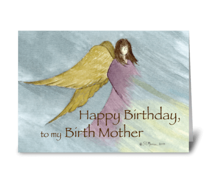Birth Mother Angel Birthday Blue greeting card