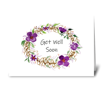 Watercolor Get Well Soon Purple Wreath greeting card